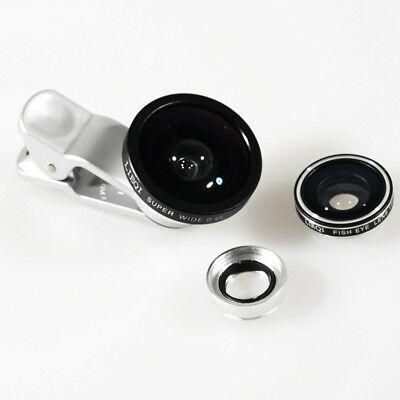 Lieqi 3 in 1 Super Wide-angle + Fish Eye +Macro 10X Camera Clip-on Lens US U2X0