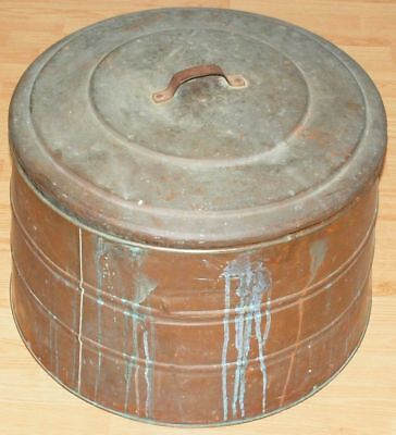 Vintage Solid Copper Washtub ROUND Lid Washing Machine Tub Farm Boiler Pan 25""