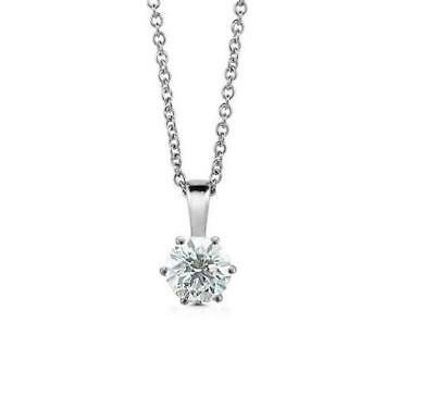 Six Prong Solitaire Pendant Necklace 0.55Carat Real Diamond 14K Solid White Gold