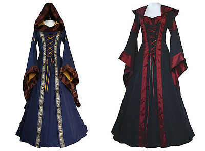 Ladies Gothic Medieval Costume Victorian Renaissance Hooded Dress Cosplay
