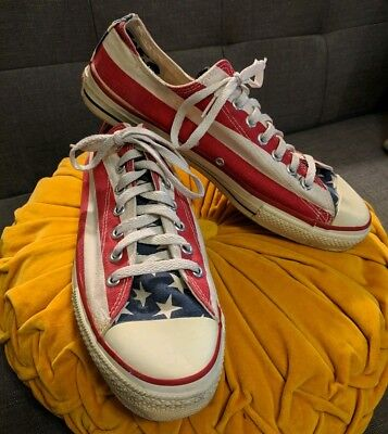 5d4a27edc0ec Vintage Converse All Star Shoes Sz 11 Made in USA American Flag Stars  Stripes