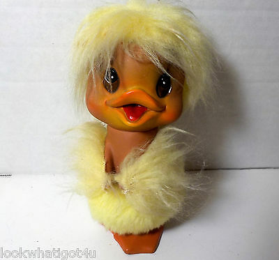 Vintage KAMAR INK 1969 Vinyl fur Easter Duck / Chick 6""