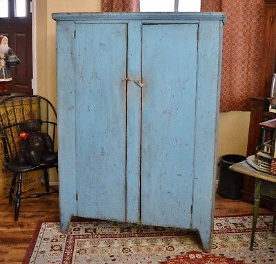 Antique 19th century American Two Door Cupboard in Early Blue Paint *