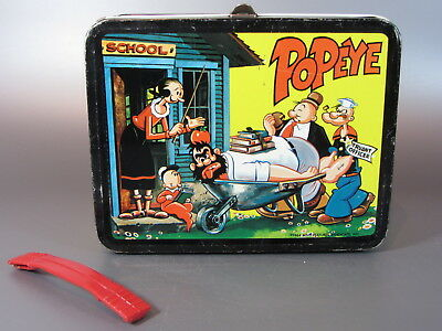 Vintage LUNCH BOX POPEYE CARTOON METAL ORIGINAL LUNCHBOX 64 King-Seeley no Therm