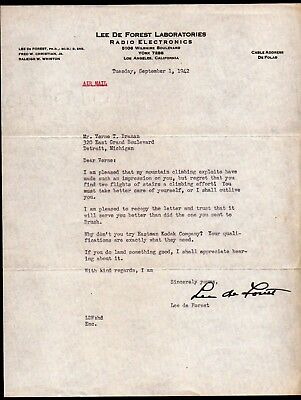 1942 Lee de forest - the Father of Radio - GREAT inventor - signed Letter RARE