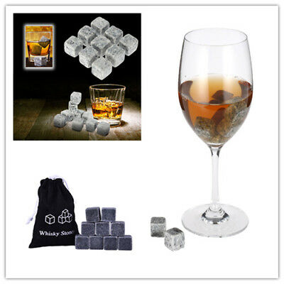 9Pc Whisky Ice Stones Drinks Cooler Cubes Whiskey Scotch Rocks Granite &Pouch UK