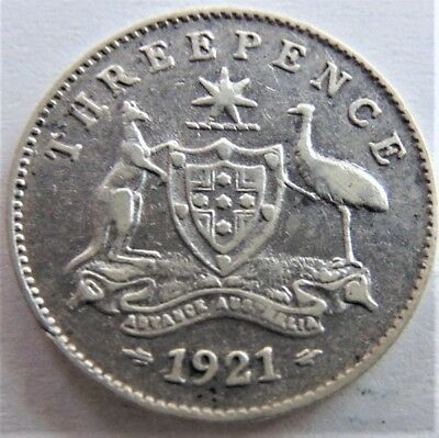 1921 GEORGE V, THREEPENCE, grading About VERY FINE.