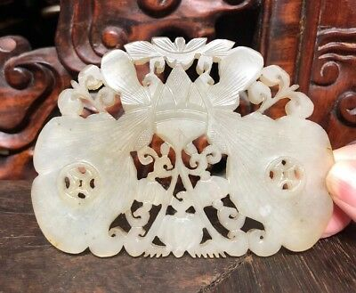 Chinese Antique Old Super White Jade Pendant Large Size Asian China