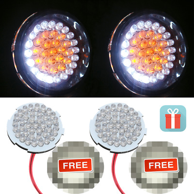 2''Bullet Style LED Turn Signal Inserts 1157 With Smoke Lens for Harley Davidson