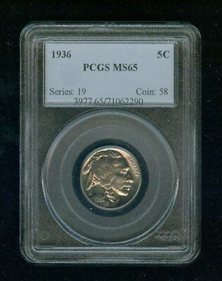 "1936-P Buffalo Nickel 5C PCGS MS 65 Type 2, ""FIVE CENTS"" In Recess"