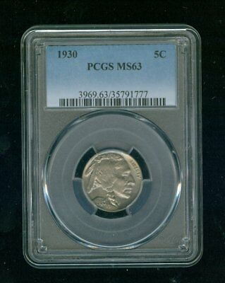 "1930-P Buffalo Nickel 5C PCGS MS 63 Type 2, ""FIVE CENTS"" In Recess"