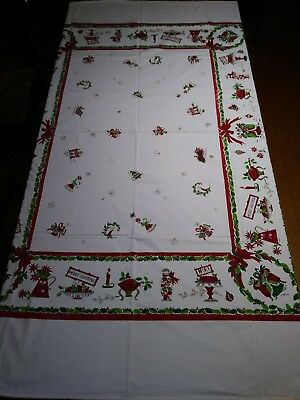 Vintage Christmas tablecloth - Damaged / Cutter - Merry Christmas / Noel