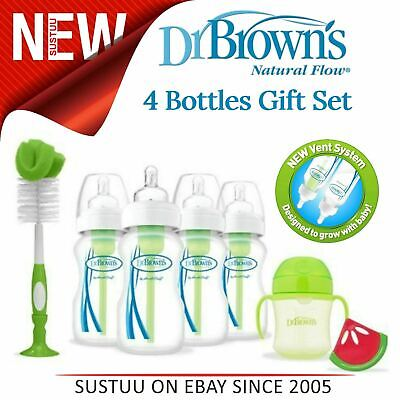 Dr Browns Baby Feeding 4 Bottle Gift Set│Wide Neck│Natural Flow│BPA Free│Green