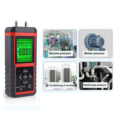 LCD Digital Manometer Differential Air Pressure Meter ±2.999Psi Gauge High KPA