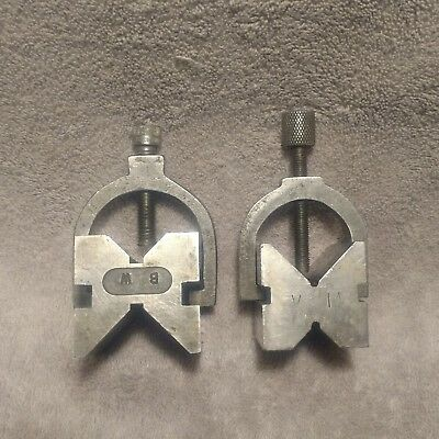 Two vintage unbranded machinist  V- blocks with clamps