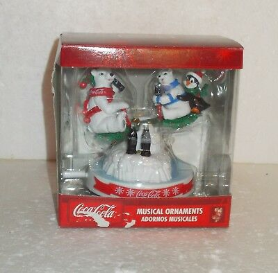 Coca-Cola Musical Ornament - 2 Polar Bears and a Penguin on a See-Saw