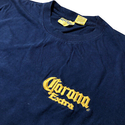 Vintage Corona Extra Beer Embroidered Mens Shirt Blue Yellow Official Sz Small