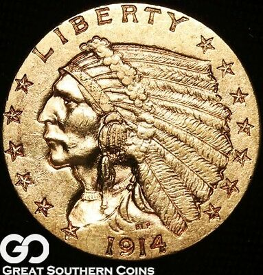 1914-D Quarter Eagle, $2.5 Gold Indian ** Free Shipping!