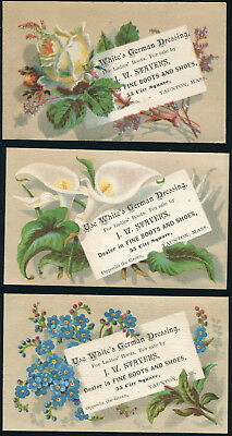 Victorian Trade Cards -  set of 3 flowers, White's German Boot or Shoe Dressing
