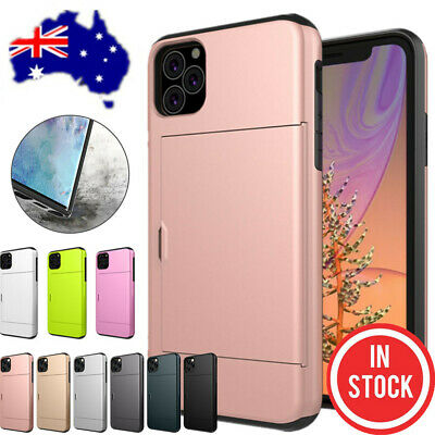 For iPhone XS Max X XR 8 7 6 Plus Case Slide Armor Wallet Card Slot Holder Cover