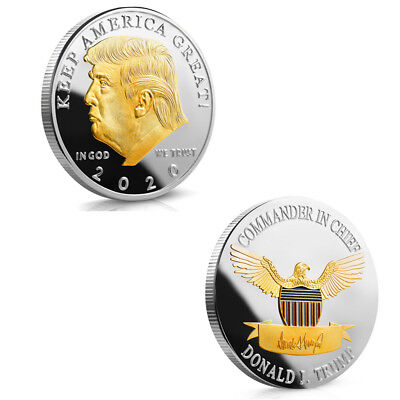 Donald Trump 2020 Silver&Gold Plated Challenge Coin KEEP AMERICA GREAT 40MM