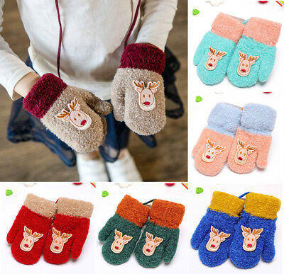 Christmas Winter Warm Baby Kids Mittens Cuffed Knitted Gloves Neck String Gifts