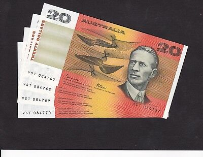 Four x $20 1985 consecutive UNC Notes for sale