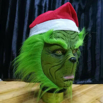Grinch Stole Christmas Latex Mask With Long Hair Xmas Hat Helmet Party Props