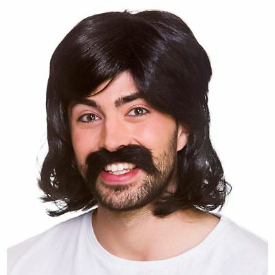 Adult 1970s COOL GUY Wig and Moustache Set 70s Disco Fever Hippie Beatles Hippy