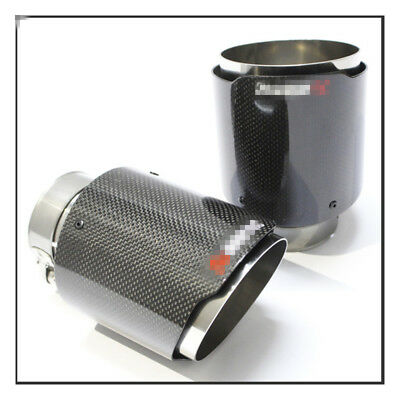 1*Carbon Fiber Car Exhaust Tip Pipe 63mm In 89mm Out Muffler Tip Universal Use