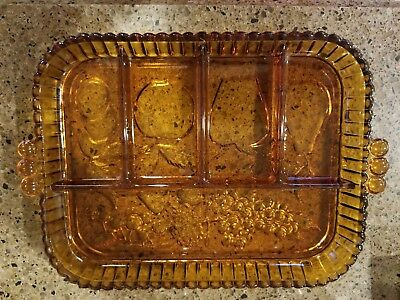 Vintage Indiana Glass Amber 5 Part Divided Fruit Relish Tray Platter Dish