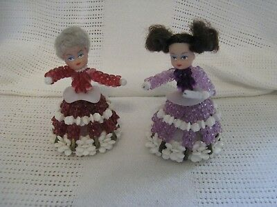 """2 Vintage Mid Century Safety Pin Beaded Dolls Made From Kits Red And Lavender 4"""""""