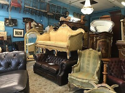 Beautiful Large French Carved Gold Sofa