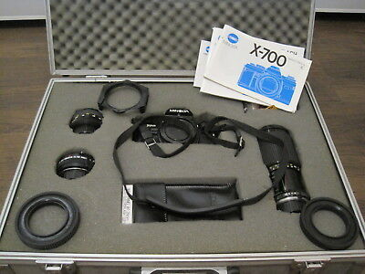 minolta x700 SLR 35mm camera in case with 3 lenses excellent condition