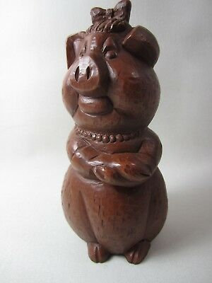 Vintage Red Mill Crushed Pecans Woman Pig Sculpture Figurine Made in U.S.A.