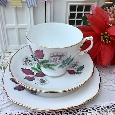 ROYAL VALE 1960s TRIO CUP SAUCER PLATE SET PINK BLOSSOM FLORAL GILDED BONE CHINA