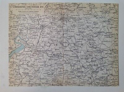 Cotswolds Vintage County Map 1967, Cirencester, Cheltenham, Wold, Cricklade