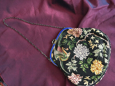 Victorian Antique petit point Purse w. Silver (marked) Frame + enameling, FINE
