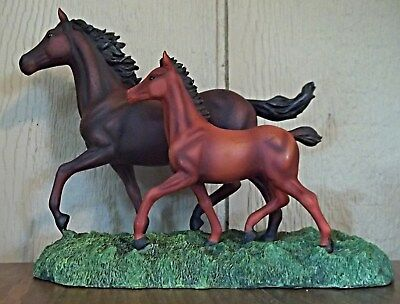 """Resin Mare and Foal Figurine, ~7.5"""" Tall"""