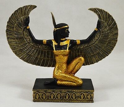 Superb Egyptian Winged Maat Goddess/Diety Statue/Figurine/Ornament Black/Gold