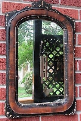 Antique Victorian EASTLAKE Arched Black & Brown INCISED MIRROR  Frame c1860-70s