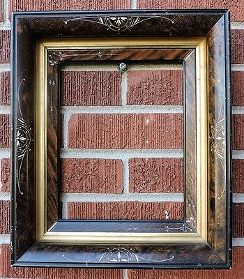 Antique Victorian EASTLAKE BROWN Black INCISED Gold Picture Frame 8 x 10 c1880s