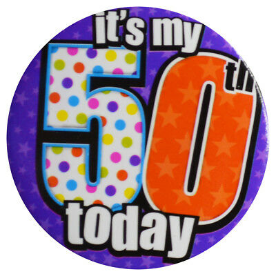 "Badge ""It's my 50th today"" Female Age 50 Birthday 50th Party Wearable"