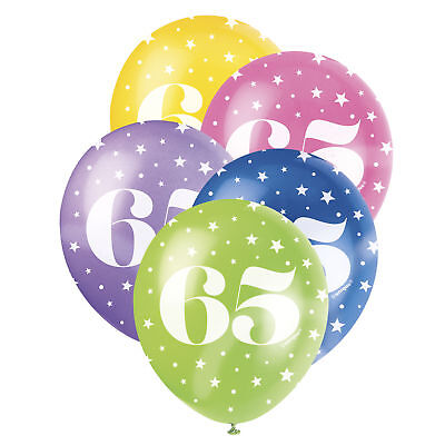 Balloons X5 65 65th Birthday Party Age