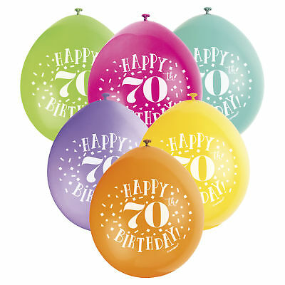 Balloons X10 Happy 70th Birthday Male Female Party Latex
