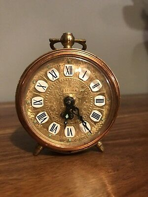 Vintage Ornate 'Estyma' Copper & Brass Wind Up Alarm Clock West German Working