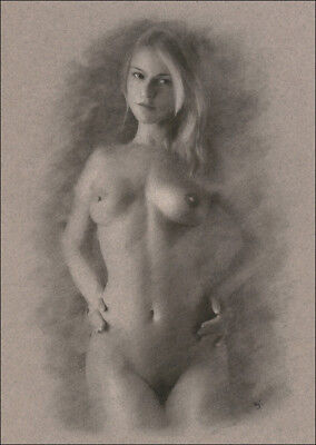 Female Nude ORIGINAL DRAWING Charcoal Art naked woman hands on hips NO RESERVE