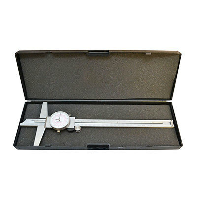 """Stainless Steel 8"""" 200mm Inch Metric Dual Reading Dial Caliper Ruler Mechanical"""