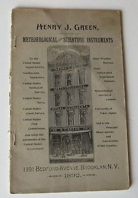 1892 Henry J Green Meteorological and Scientific Instruments CATALOG illustrated