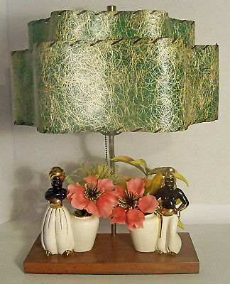 VERY RARE VTG MID-CENTURY BLACKAMOOR TABLE / TV LAMP w/ 2 TIER FIBERGLASS SHADE